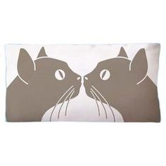 """Cotton canvas pillow with a cat motif.    Product: PillowConstruction Material: 100% Cotton canvas cover and polyester fillColor: Blue, grey and whiteFeatures: Insert includedDimensions: 11"""" x 21""""Note: Includes one pillow. Image depicts front and back of pillow.  Cleaning and Care: Hand wash or machine wash cold"""