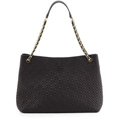 Tory Burch Marion Chain-Strap Shoulder Slouch Bag ($590) ❤ liked on Polyvore featuring bags, handbags, shoulder bags, black, quilted shoulder bag, tory burch purse, slouchy handbags, tory burch handbags and chain strap purse
