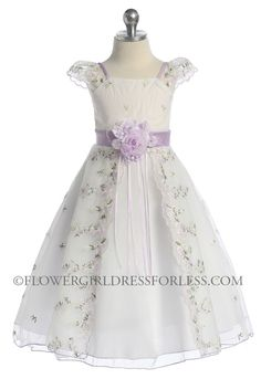 CB_2606L - Girls Dress Style 2606- Short Sleeve Organza Embroidered Dress - Purple - Flower Girl Dress For Less