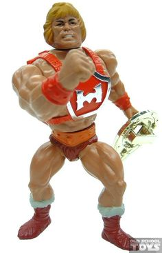 "Thunder Punch He-Man, a cap-blasting action figure of the titular hero from the ""He-Man and the Masters of the Universe"" line of toys"