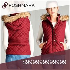 JUST IN! Faux Fur Lined Quilted Puffer Vest Maroon Faux Fur Lined Quilted Puffer Vest. WILA Jackets & Coats Vests