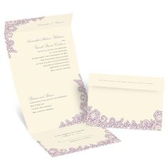 lacy corners ecru seal and send wedding invitation | vintage wedding invites at Invitations By Dawn