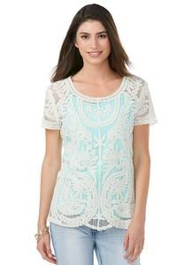 Embroidered Mesh Pullover Top -Plus