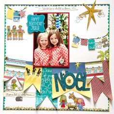 Cute Christmas page layout using the Nativity Kids kit from me & my BIG ideas.  Designed by Alice Golden.