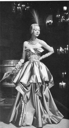 Sophie Malgat in a satin ball gown by Jacques Fath, Paris 1948    Photo by Seeberger