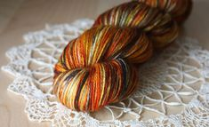 Hand Dyed Yarn / Fingering Weight / Pumpkin by phydeauxdesigns, $26.00