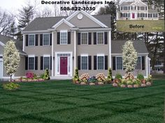Colonial Home, front yard landscape design, Lakeville, MA | Front of ...