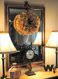 I think I may be obsessed with wreaths... this one is made from brown coffee filters.