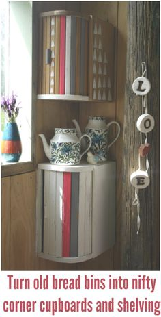 Love this upcycling of vintage bread bins into corner cabinets. Even the modern ones would look good like this too.