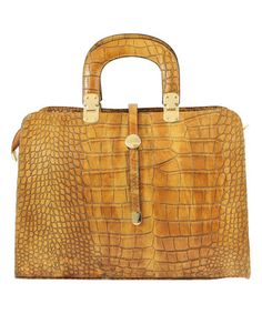 Loving this Tan Croc-Embossed Leather Satchel on #zulily! #zulilyfinds