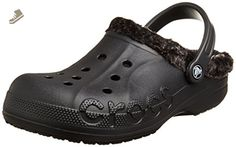 Crocs Unisex Baya Heathered Lined Clog Black/Black Clog/Mule Mens 4, Womens 6 Medium - Crocs mules and clogs for women (*Amazon Partner-Link)
