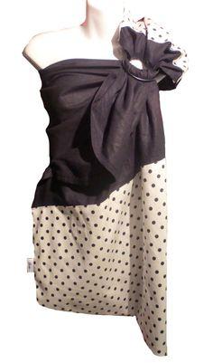 Ring sling. Fait au Québec à la main avec amour.  ✄Tissu noir : 55% lin, 45% viscose ✄Tissu pois noirs : 100% coton Lin noir avec pointe et épaule