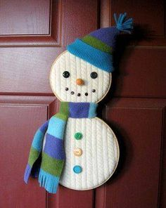 Snowman activities: Snowman craft: Use a cable knit old sweater or old blanket. Put quilt/cross-stitch hoops on the blanket then cut to fit hoops. Then decorate your snowman. Cute and EASY! Kids Christmas Ornaments, Easy Christmas Crafts, Christmas Projects, Simple Christmas, Winter Christmas, Christmas Decorations, Christmas Snowman, Holiday Decor, Christmas Christmas