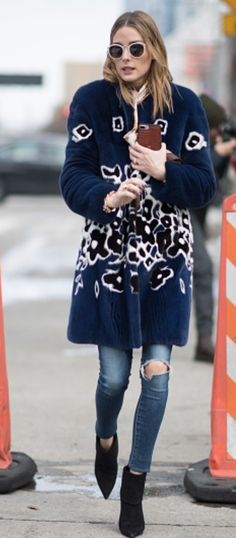 Olivia Palermo in navy print jacket. See more at www.HerStyledView.com