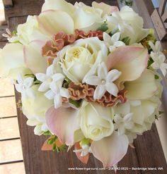 White Bridal Bouquet with soft pink    Flowering Around Creations