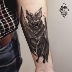 Bat by Lera (@ lera_minor) #mamanerugaitattoo#маманеругай#tattoo#blacktattoo#battattoo#halloweentattoo#bat#leraminor