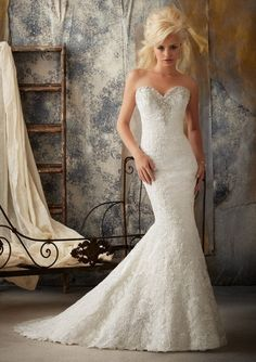 Mermaid Sweetheart Lace Court Train Wedding Dress