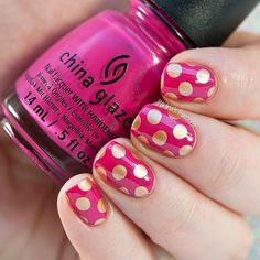 Pink and gold polka dot