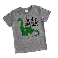 This is such a sweet personalized shirt for your little dinosaur lover! This tee is designed to be a girls tee. Find our boys dino tee here: https://www.etsy.com/listing/289279419/boys-dinosaur-shirt-dinosaur-tee-t-rex?ref=listings_manager_grid 💜Shirt Details:💜 Choose from a gray,