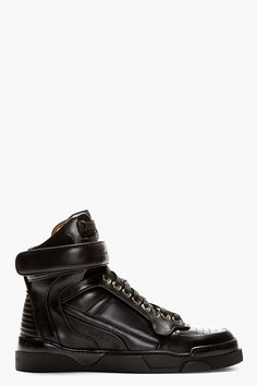 GIVENCHY // BLACK LEATHER TYSON HIGH-TOP SNEAKERS | high end footwear | designer shoes