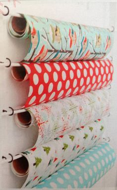 Clever way to store wrapping paper