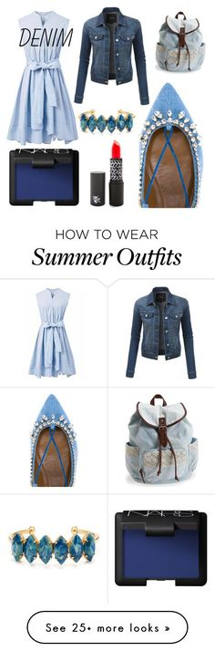 """My Denim Outfit"" by jillianmd on Polyvore featuring Aquazzura, LE3NO, Chicwish, Aéropostale, Elizabeth Cole, NARS Cosmetics and Denimondenim"