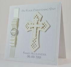 Luxury Handmade Christening Card / Personalised Christening Card / Religious Cross Card / Baptism Card / Holy Comunion Card by ElleBeeCardsOnline on Etsy