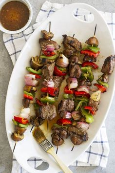 Grilled Steak and Mushroom Kabobs | http://girlversusdough.com /girlversusdough/