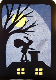 schaduw tekening --> je neemt een zwart blad en knipt een figuur uit en plak een ander blad achter  ouderen Superhero Logos, Painted Rocks, Origami, Moose Art, Projects To Try, December, Christmas, Crafts, Painting
