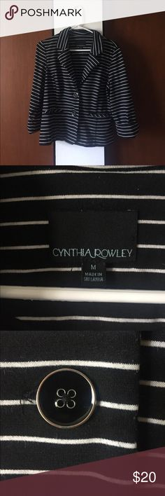 Medium Cynthia Rowley Blazer black & white stripes Cute fun Blazer, material is SOFT stretch material, not stiff dress pant material, but is still a good quality medium weight. It is in pretty good condition but has some minimal pilling throughout as seen in pictures. Not noticeable when worn unless you're looking for it :) Front pockets!! Cynthia Rowley Jackets & Coats Blazers