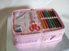 """Amazing """"SCHOOL BOOK BAG"""" cake.  Love the detail here!"""