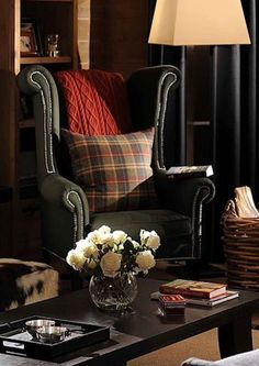 wingback, cable knit, plaid, basket, and hide......