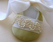 Pale Green Special Occasion Baby Shoes with Pearly Trim