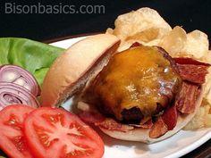 The Umami Burger mixes fat from pan-fried side bacon into the meat. Burger Mix, Good Burger, Burgers, Bison Burger Recipe, Burger Recipes, Burger Perfect, Bison Recipes, Buffalo Recipe, Ground Meat