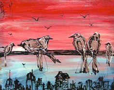 "city birds 11x14x2"" wood panel"