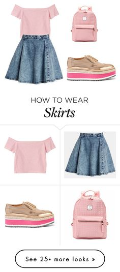 """Denim Skirt"" by tania-alves on Polyvore featuring Monki, Prada and Topshop"