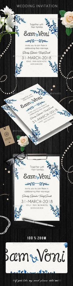 #Wedding Invitation - Weddings #Cards & Invites Download here:  https://graphicriver.net/item/wedding-invitation/19794056?ref=alena994