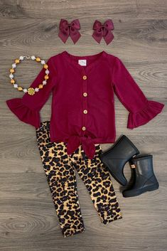 Burgundy & Cheetah Tie Pant Set - Sparkle In Pink Girls Fall Outfits, Outfits Niños, Toddler Outfits, Little Girl Fashion, Toddler Fashion, Kids Fashion, Cheetah Leggings, Divas, Plaid Vest