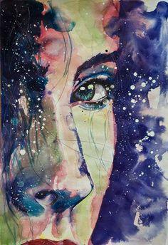 """Saatchi Art Artist: Sonja De Graaf; Ink 2012 Painting """"Lost in her own universe #3"""""""
