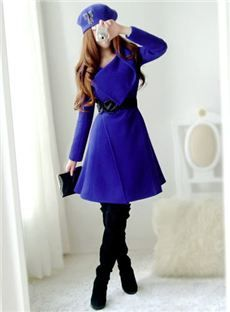 Dressyours.com|Royal Blue Turndown Collar Overcoat With Belt|US$ 62.09