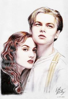 "Digitally colourized version of my pencil illustration - Kate Winslet and Leonardo DiCaprio in a promo portrait for ""Titanic"". Never Let Go - colourized Rms Titanic, Titanic Art, Titanic Photos, Kate Titanic, Pencil Art Drawings, Art Drawings Sketches, Cool Drawings, Titanic Leonardo Dicaprio, Young Leonardo Dicaprio"
