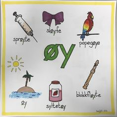 diftong øy Norway Language, Barn Crafts, Swedish Language, Classroom Walls, School Subjects, Word Families, Sleepover, In Kindergarten, First Grade