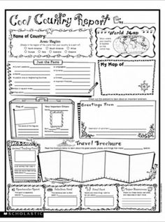 Cool Country Report: Fill-in Poster FREE from Scholastic.com | Nice for the kids to learn about the country and collectively make the poster with all the interesting facts…