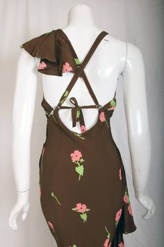 An Ossie Clark Bias-Cut Crepe Evening Gown w/Celia Birtwell Floral Print For Sale at 1stdibs