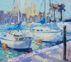 Marina in Morning Light (Original Oil Painting) Small Paintings, Large Painting, Paintings For Sale, Art Paintings, Painting Gallery, Fine Art Gallery, Morning Light, Art For Sale, The Originals