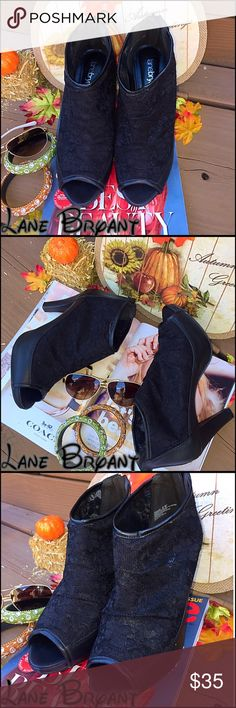 """😎Lane Bryant😎 Lace booties by """"LB"""", sexy sassy and fun!. These pristine zip up the back chic shoes will have you rocking this fall😎. I love lace and I love booties!. Gorgeous Lane Bryant Shoes Ankle Boots & Booties"""