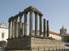 Roman Temple at Evora, Portugal / The Roman Temple of Évora (also referred to as the Templo de Diana, after Diana, ancient Roman goddess of the moon, the hunt, and chastity) is located in the city of Évora, in Portugal.