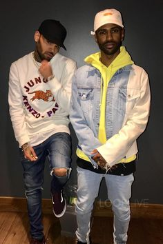 Big Sean wearing Off-White c/o Virgil Abloh Contrast Paneled Straight Jeans, Off-White c/o Virgil Abloh Spliced Denim Jacket, Fan Merchandise Big Sean No More Interviews Hoodie
