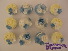 Something Blue - Vintage Inspired Roses and Pearls. Perfect color combo! ;)