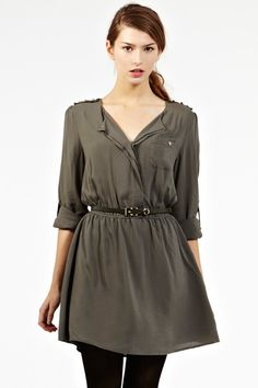 Grey Military Style Dress